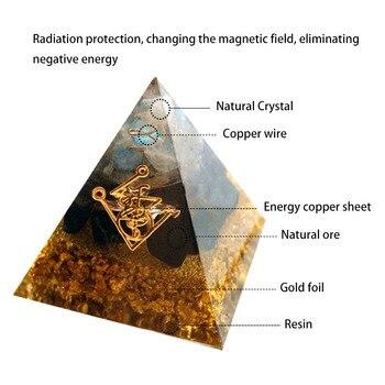 Orgonite pyramid muladhara chakra obsidian natural crystal repel evil spirits pyramid decoration process resin gift