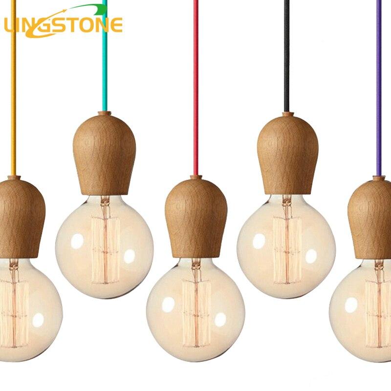 Modern Wood Pendant Lights Dining <font><b>Room</b></font> Cord Pendant Lamp Hanging <font><b>Lighting</b></font> Light Fixtures E27 Base Bedroom Suspension luminaire