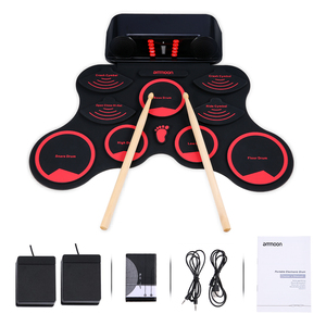 ammoon Roll-Up MIDI Drum Electric Drum Set 9 Silicon Durm Pads Built-in Stereo Speakers Rechargeable Battery with Foot Pedals(China)