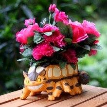 Mini Kawaii Cartoon Cute Adorable Wild Striped Cat Cartoon Bus Animation Design Flower Pot Succulent Planter