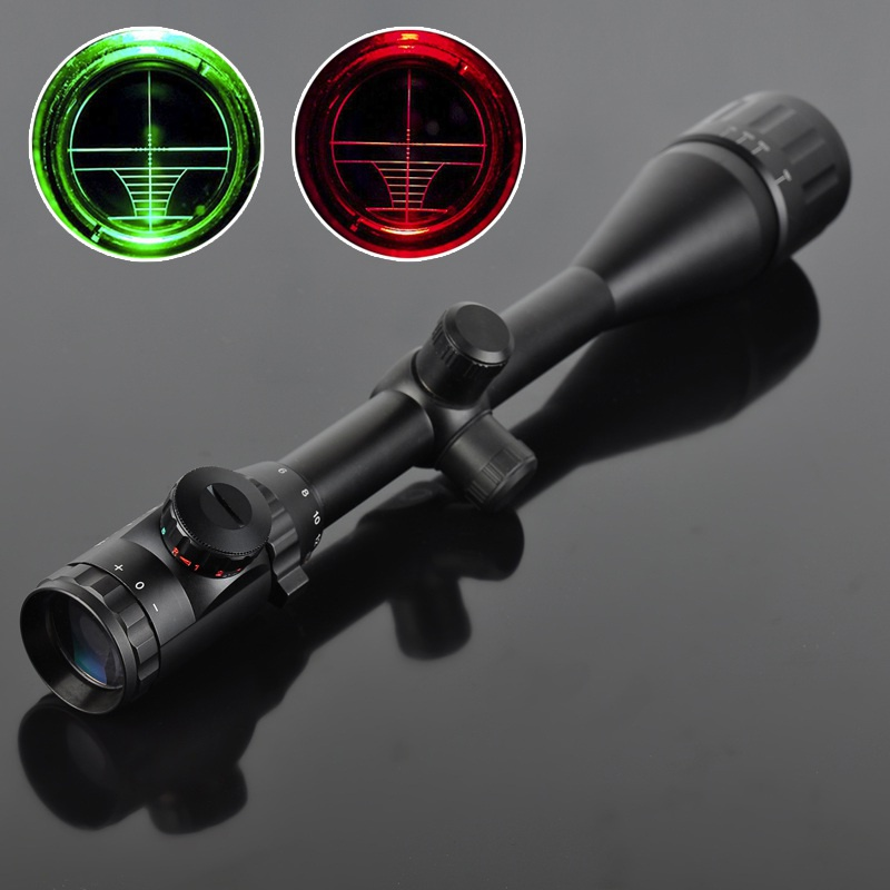 6-24X50 Ten Green Red Sniper Sight Adjustable Light Reticle Tactical Scope With 20/11mm Rails Hunting Sightfinder 6 24x50 red