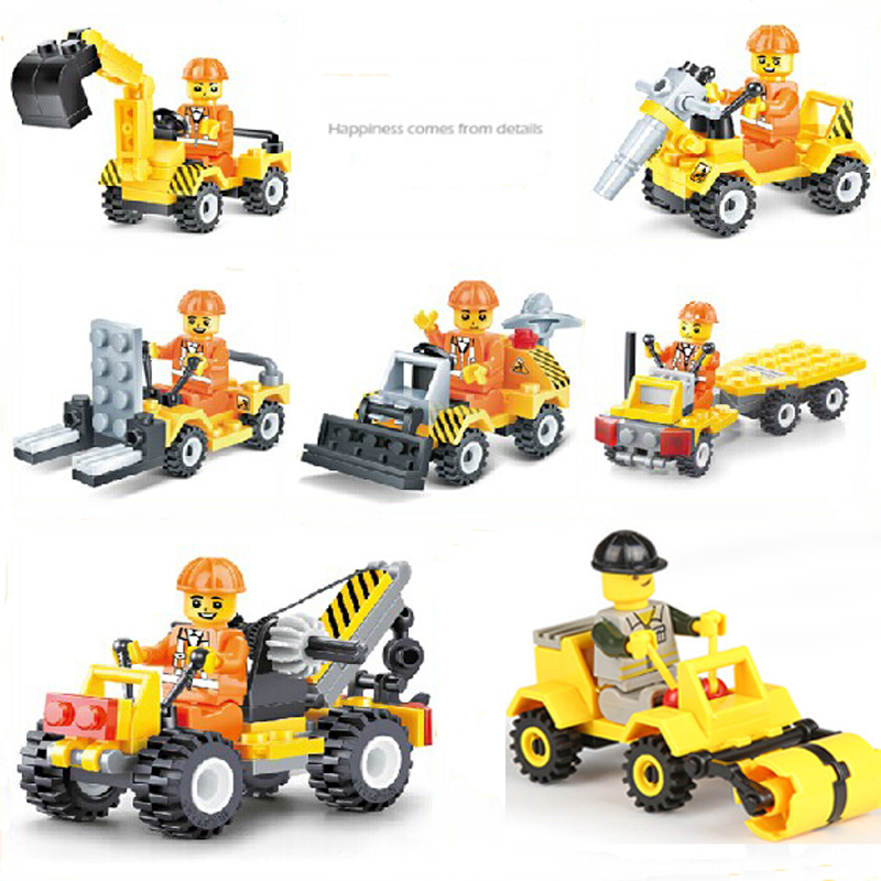 Lepine 7pcs City Construction Creator Excavator Dumper Bulldozer Truck Building Blocks Sets Toy Compatible with City Car Technic