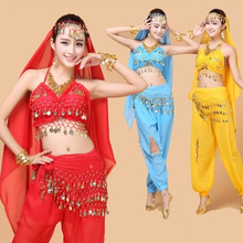 New 4pcs Set Belly Dance Costume Bollywood Indian Dress Bellydance Womens Dancing Sets 7 Color