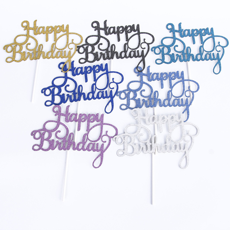 Many Colors Happy Birthday Cup Cake Flag Party Cake Topper Baby Shower Party Event Decor
