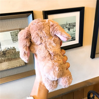 HAISSKY Lovely Rabbit Hair Fur Case For IPhone 6 6s Plus 7 8 Plus Case Luxury