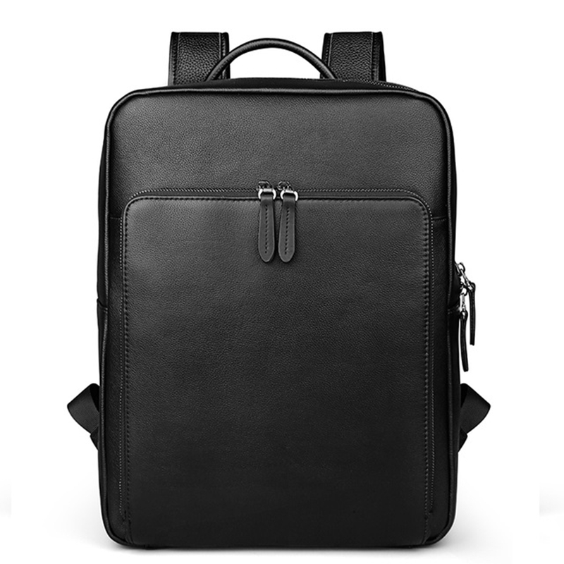 BUG Genuine Leather Backpack For Man <font><b>Real</b></font> Cowhide Large Male Backpack Double Zipper Travel Rucksack Classic Unisex Black Bag