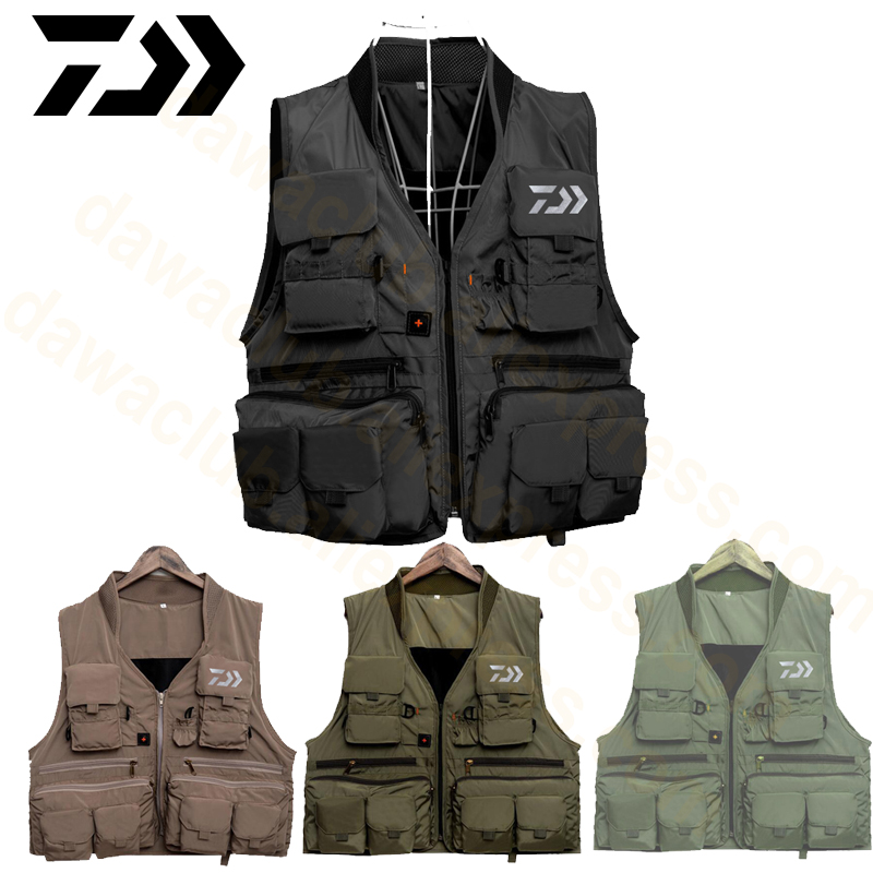 2019 Dawa Reliective Fishing Vest Quick Dry Fish Vest Breathable Fishing Jacket Outdoor Sport Survival Reflected Light Waistcoat