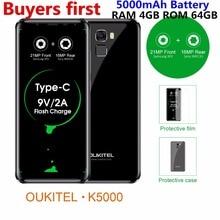 "Oukitel K5000 18:9 5.7 ""HD smartphone 4 GB RAM 64 GB ROM 16MP 5000 mAh Android 7.0 MT6750 Octa base 4G LTE D'empreintes Digitales mobile téléphone"