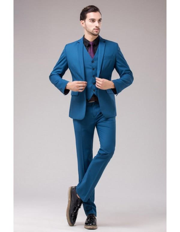 2018 New Arrival Navy Blue men wedding suits Cheap Jacket+Pants+Tie+ ...