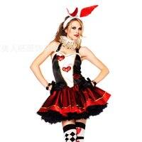 Хеллоуин костюм зайчика для девочек кролик Hearts животных Косплэй одежда Alice In Wonderland Party Dress покер костюмы принцессы