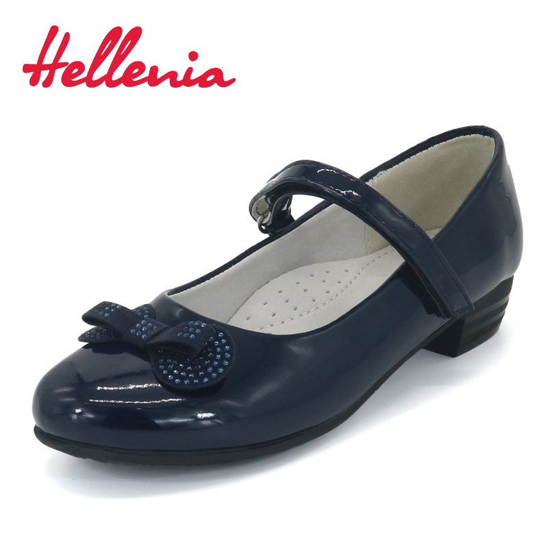 Hellenia Children Shoes girls bowknot uniform low heels buckle strap PU Leather Navy blue School Student Shoes size 30-35