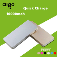 Aigo 10000mAh Ultra Thin Portable Dual USB Power Bank Solar Large Capacity Travelling Polymer Battery For
