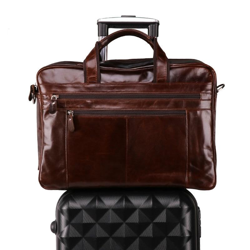Men's Briefcase Messenger-Bag Vintage Tote Computer Travel-Handbag Business Genuine-Leather