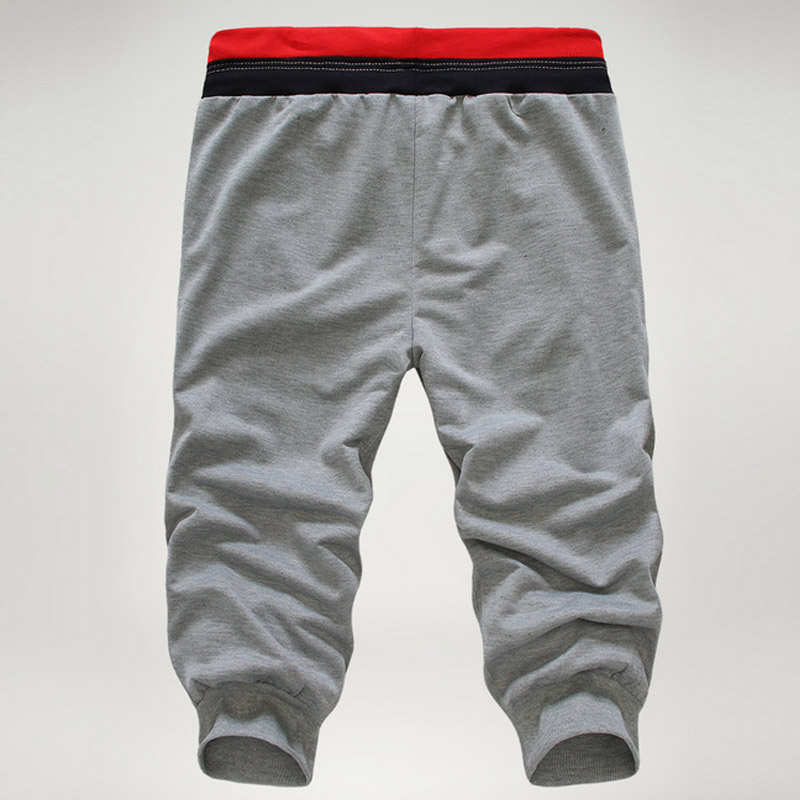 Newly Fashion Men Pants Solid Color Elastic Sweatpants Three Quarter Troursers Boys Casual Beach Pants