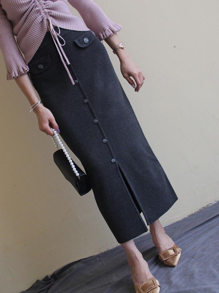 Livraison gratuite 2019 nouvelle mode longue Maxi automne et hiver taille haute Vintage Stretch jupe crayon avec fente femmes S-XL bouton