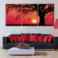 Free Shipping Art Print Trees Under The Setting Sun Clock in Canvas 3pcs wall clock