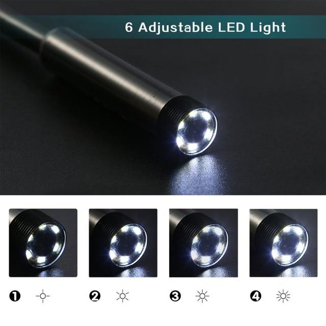 Camera Waterproof 5m Mini USB Endoscope Inspection Camera 6 White LEDs 1/9 CMOS 7mm Lens Borescope Snake Tube Camera with P2P