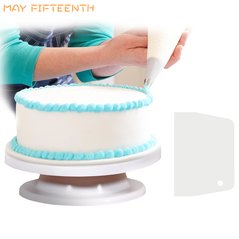 Us 8 42 28 Off Buy Cake Turntable Get Scraper Free Cake Decorating Tool Rotating Revolving Turntable Round Rotator Spinner Rotary Table 132 In