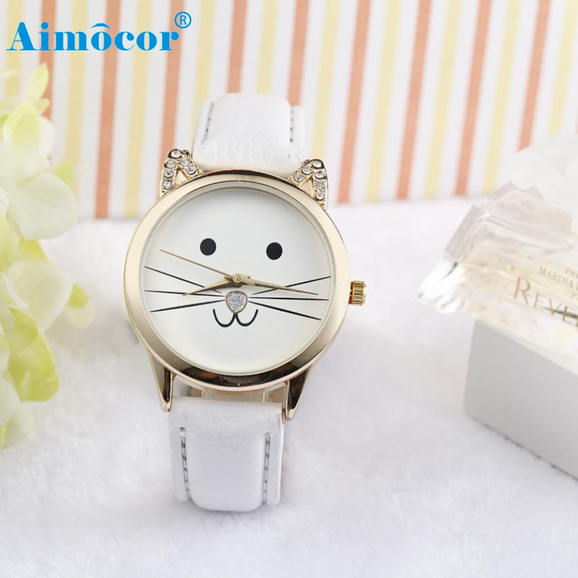 2017 Newly Designed Relogio Feminino Clock  Fashion Neutral Diamond Lovely Cats Face Faux Leather Quartz Watch Gift 324