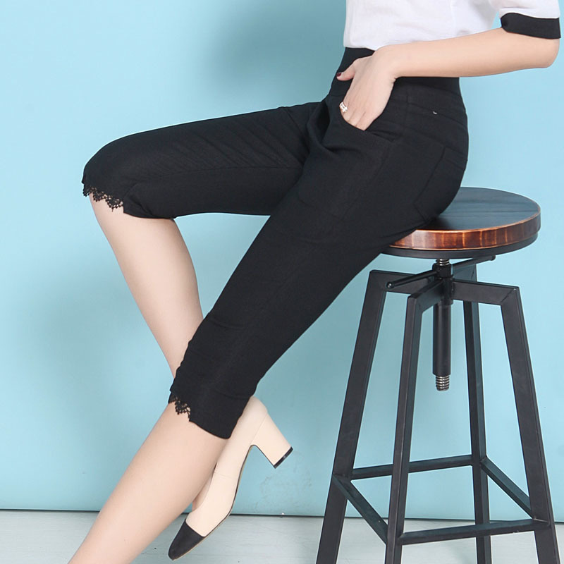 2019 Summer New Fahison Capris Casual Lace Patchwork Calf length Pants Female Plus Size XL 5XL White Black Women Pants in Pants amp Capris from Women 39 s Clothing