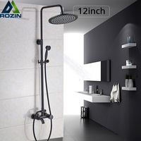 Роскошный 12 дюймов дождевой смеситель для душа набор в стену для ванной Душевой набор черный бронзовый горячий и холодный душ смесители с р