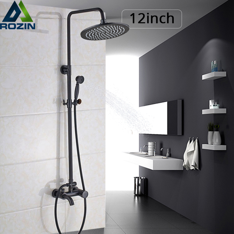 Luxury 12 Inch Rainfall Shower Faucet Set In Wall Bath Shower Set Black Bronze Hot and Cold Shower Mixers with Hand Shower Head