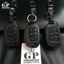 Car Leather Flip Key Cover Case For Hyundai I10 I20 IX25 IX35 IX45 Elantra Accent Car Styling Accessories