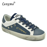 CANGMA Brand Fashion Shoes Leisure Vintage Navy Blue Women S Flats Low Top Spring Autumn Genuine