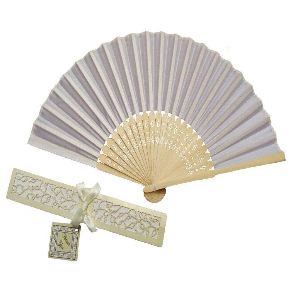 50Pcs White Silk Wedding Fan With Gift Box,Folding Hand Fan Wedding ...