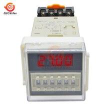 Переменный ток 220 В DH48S-S цифровой таймер задержки времени программируемый двойной релейный переключатель гнездо База SPDT повторный цикл реле времени синхронизации