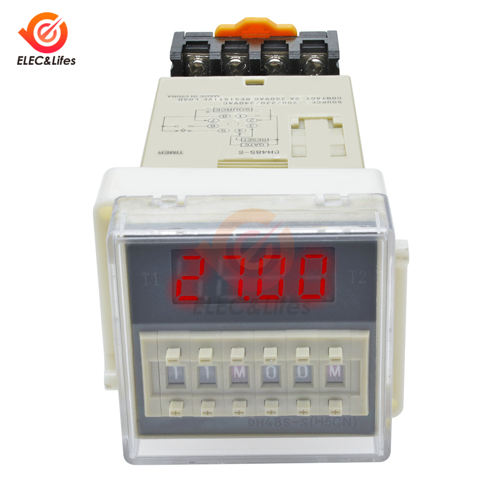 220V AC Delay Timer Repeat Cycle Time Relay 12-12s Adjust On Off Knob