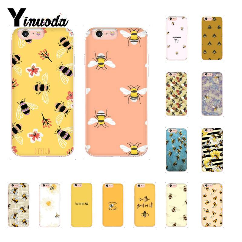 Yinuoda Bee Art Print cute cartoon floral Phone Case for iPhone 8 7 6 6S Plus 5 5S SE XR X XS MAX 10 11 11pro 11promax