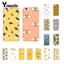Yinuoda Bee Art Print cute cartoon floral Phone Case for iPhone 8 7 6 6S Plus 5 5S SE XR X XS MAX 10 11 11pro 11promax yinuoda macaroons and cupcakes cute girly diy luxury case for iphone 8 7 6 6s plus x xs max 5 5s se xr 10 11 11pro 11promax