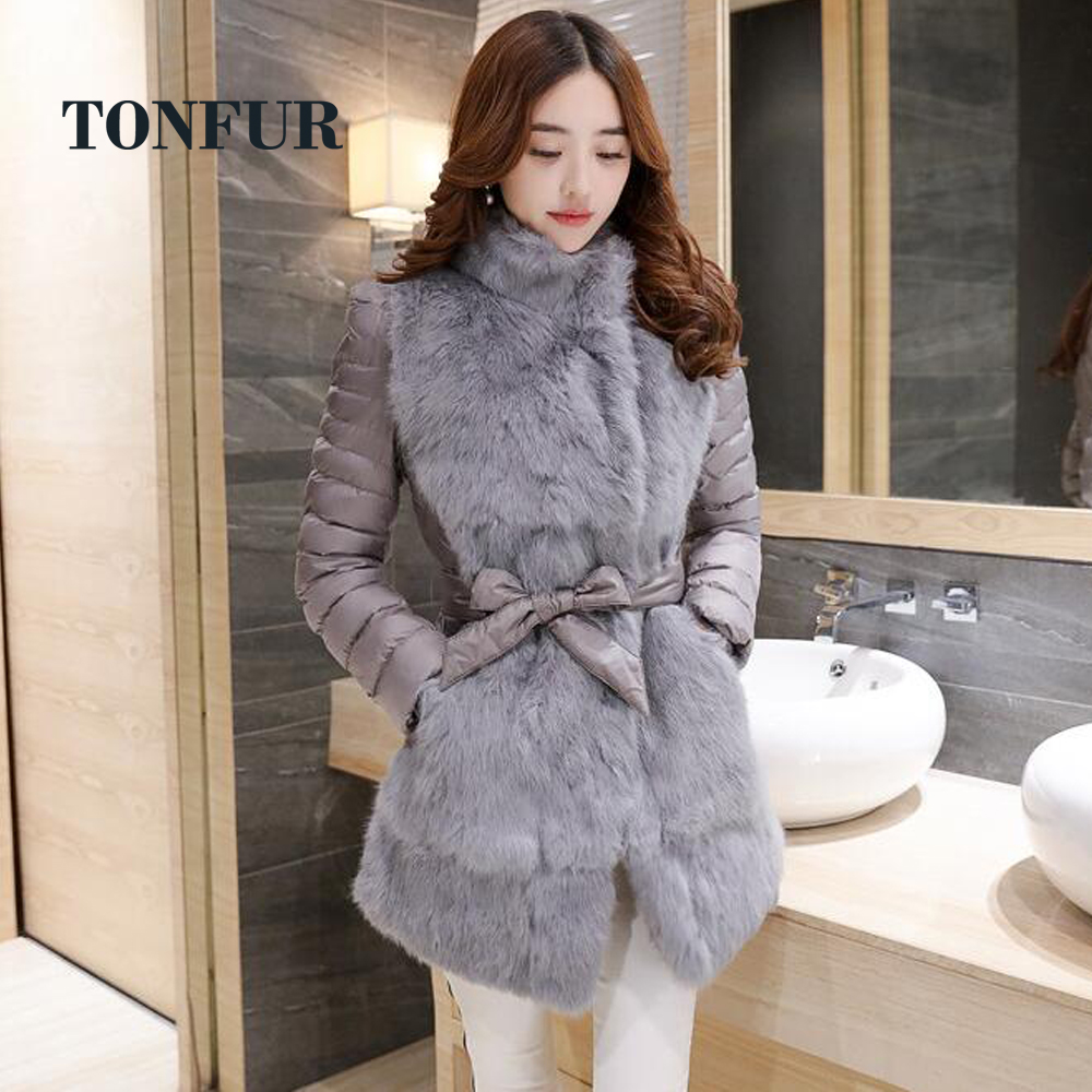Big Warm 100 Real Rabbit Fur Coat with stitching Padding Double Warm Jacket with belt good
