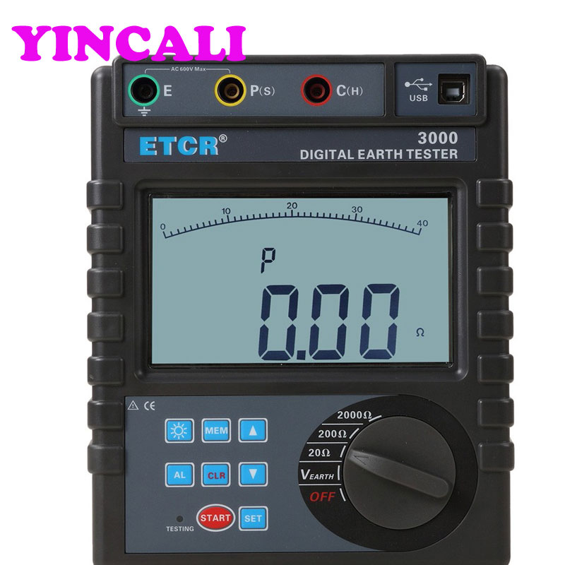 Newly Earth Resistance Tester ETCR3000 Large LCD Display Digital Ground Resistance Meter Measuring 0.01 2000ohm|Resistance Meters| |  - title=