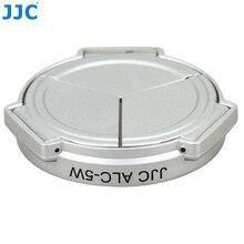 JJC Silber Auto Aufklappen Objektiv Beschützer Selbst behalten Automatische Objektivdeckel für PANASONIC DMC LX5 & Leica D Lux5 (silber)