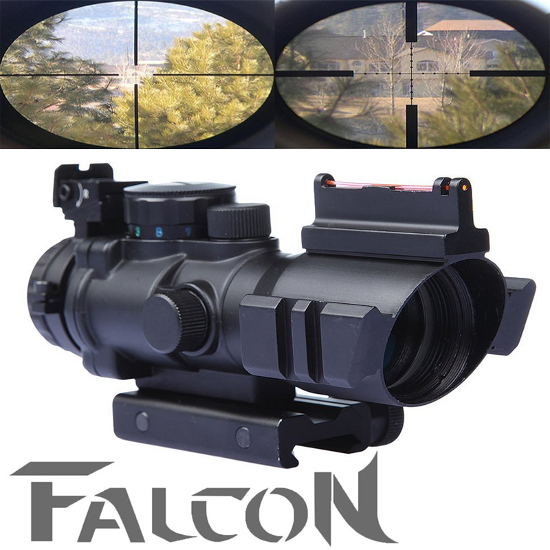 Tactical 4X32 Prismatic Rifle Scope Red Dot Tri-illuminated Fiber Optic Green Sight for Hunting Equipment  20mm rail hunting 4 x 32 compact rifle scope fiber sight red dot scope with fiber optic sight for 20mm rail ulitity