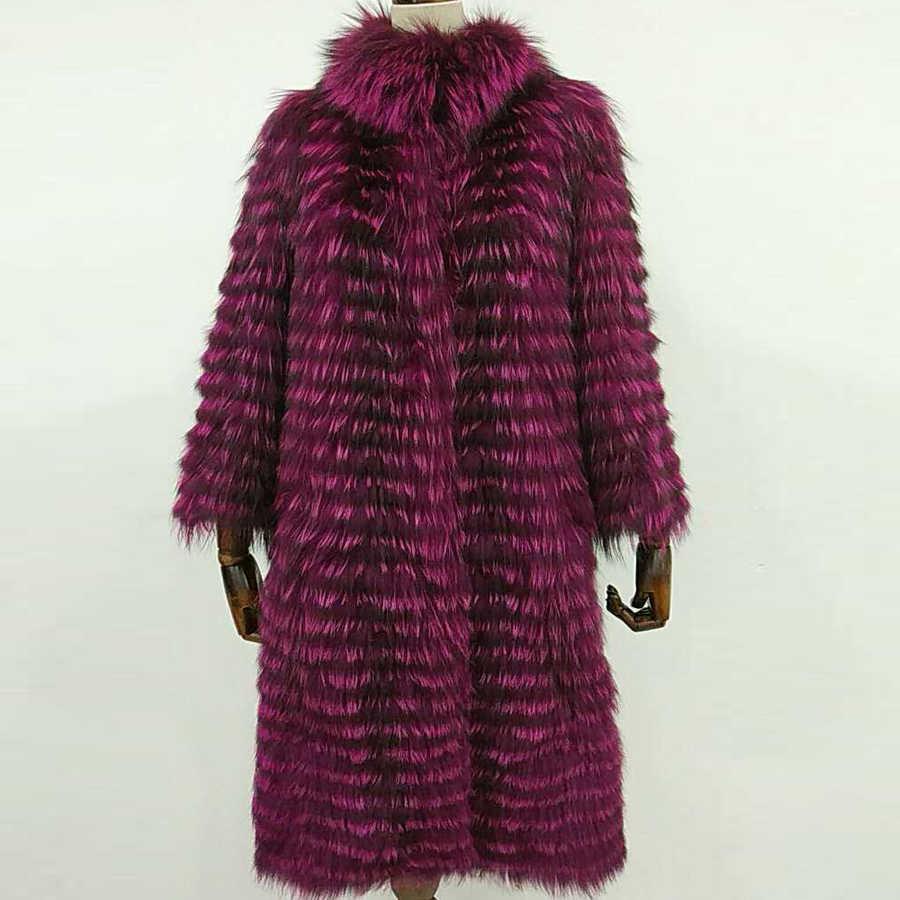 ZIRUNKING Frauen Echt Silber Fuchs Pelz Mäntel Mode Pelz Jacke Gestreiften Stil Mantel Frauen Fuchs Pelz Oberbekleidung Kleidung ZCW-02YL