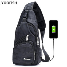 Fashion Mens Crossbody Bags USB Charging Chest Bag Canvas guard against theft Outdoor Exercise bags free shipping XZ-144.
