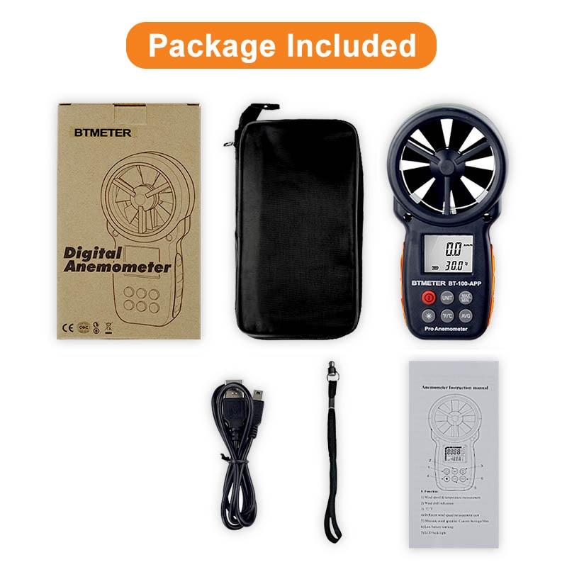 US $39 49 21% OFF|Digital Anemometer Tester With Mobile APP Wind Speed  Measurement Meter Measure Temperature Tester tools BTMETER BT 100 APP-in  Speed