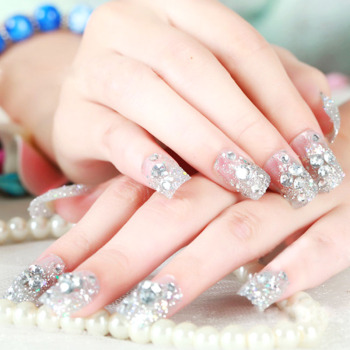 24pcs/Set press on fake nails for women Shiny Silver Glitter crystal 3D Rhinestone Artificial nail tips wedding bride False nail