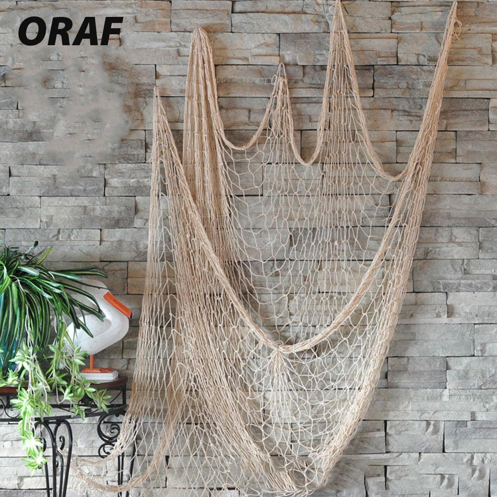 Decorative Fishing Net Hanging Net Ceative Hemp Rope 1*2M Mediterranean Nautical Wall Decor Playground