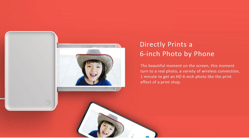 Mijia 6 inch Desktop Color Photo Printer ( Resolution 300 × 300dpi )- White