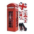 Lo nuevo Retro Londres Cabina de Teléfono Pegatinas de Pared Brillante GB Estilo de Decoración Del Hogar Bar Salón Etiqueta de La Pared Arte Mural 50*70 cm