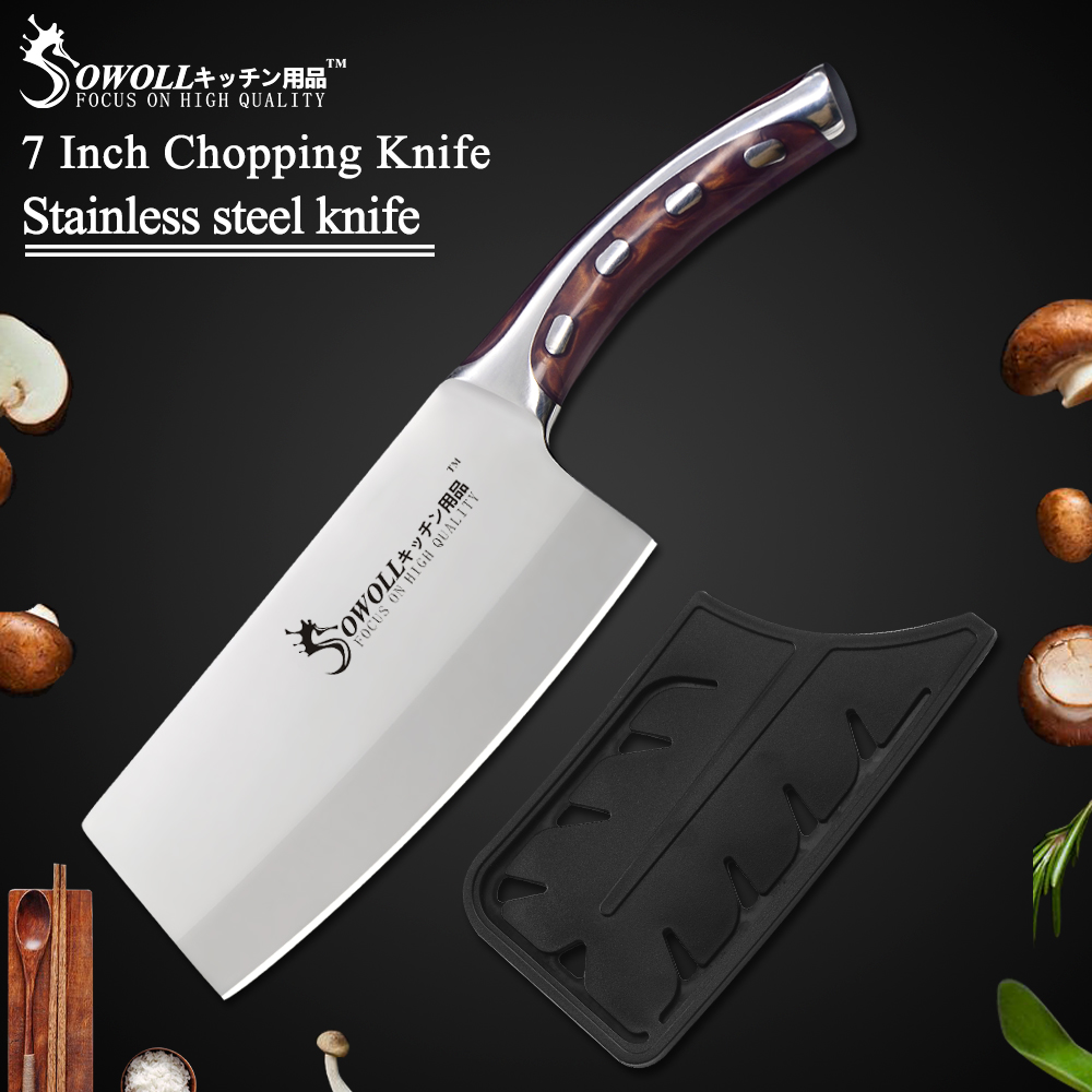 Sowoll Kitchen Knife 7 inch Japanese Chef Knife Non Slip Resin Fibre Handle Quality Stainless Steel Clever Cutter Chopping Knife image