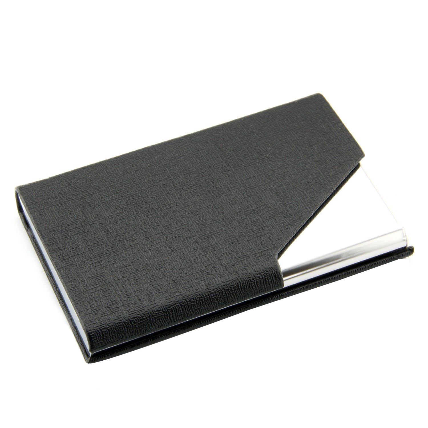 Business Name Card Holder Luxury PU Leather & Stainless Steel Multi Card Case Holder card ID Case/Holder Black