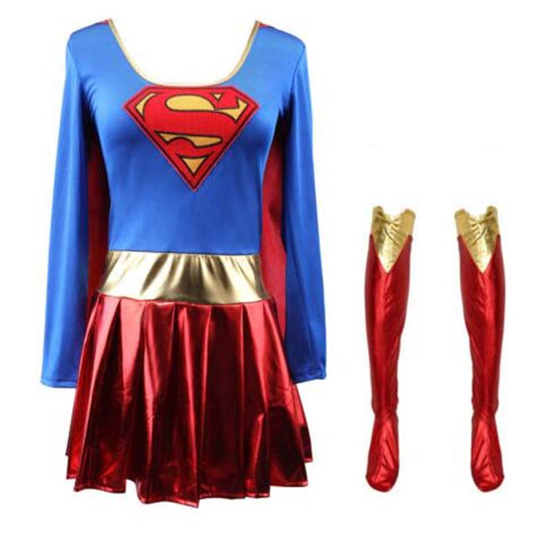 Superhero Cosplay Costume <font><b>Sexy</b></font> Supergirl <font><b>Halloween</b></font> Cos Clothing Fancy Boots Dress Sets <font><b>Adult</b></font> Super <font><b>Women</b></font> Girl Cosplay Wholesale image