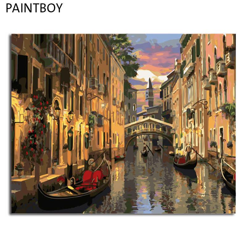 PAINTBOY krajobraz oprawione zdjęcia malowanie przez numery malarstwa i kaligrafii DIY kolorowanie według numerów na płótnie