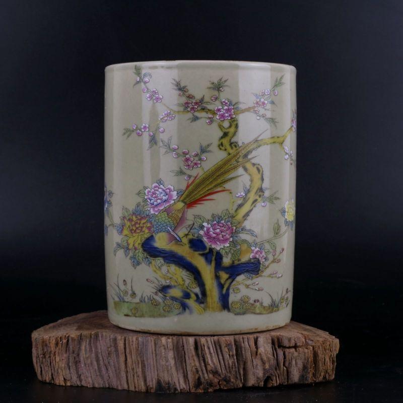 QING YONGZHENG-Pot de fleurs Pastel | Ancienne porcelaine, Pot d'oiseau brosse, conteneur de stylo