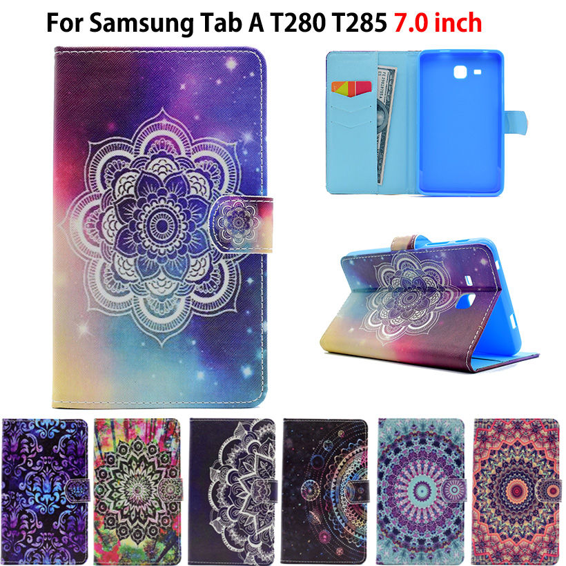 2016 Tab a6 7.0 Case For Samsung Galaxy Tab A 7.0 T280 T285 SM-T285 Case Cover Funda Tablet Painted Silicon PU Leather Shell tablet case for samsung galaxy tab 3 8 0 sm t310 t311 t315 smart case cover cartoon print silicon tpu pu leather shell funda
